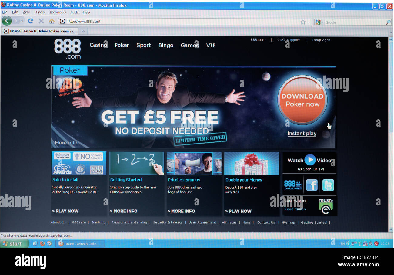 Full screen shot of 888.com home page online poker betting webpage - Stock Image