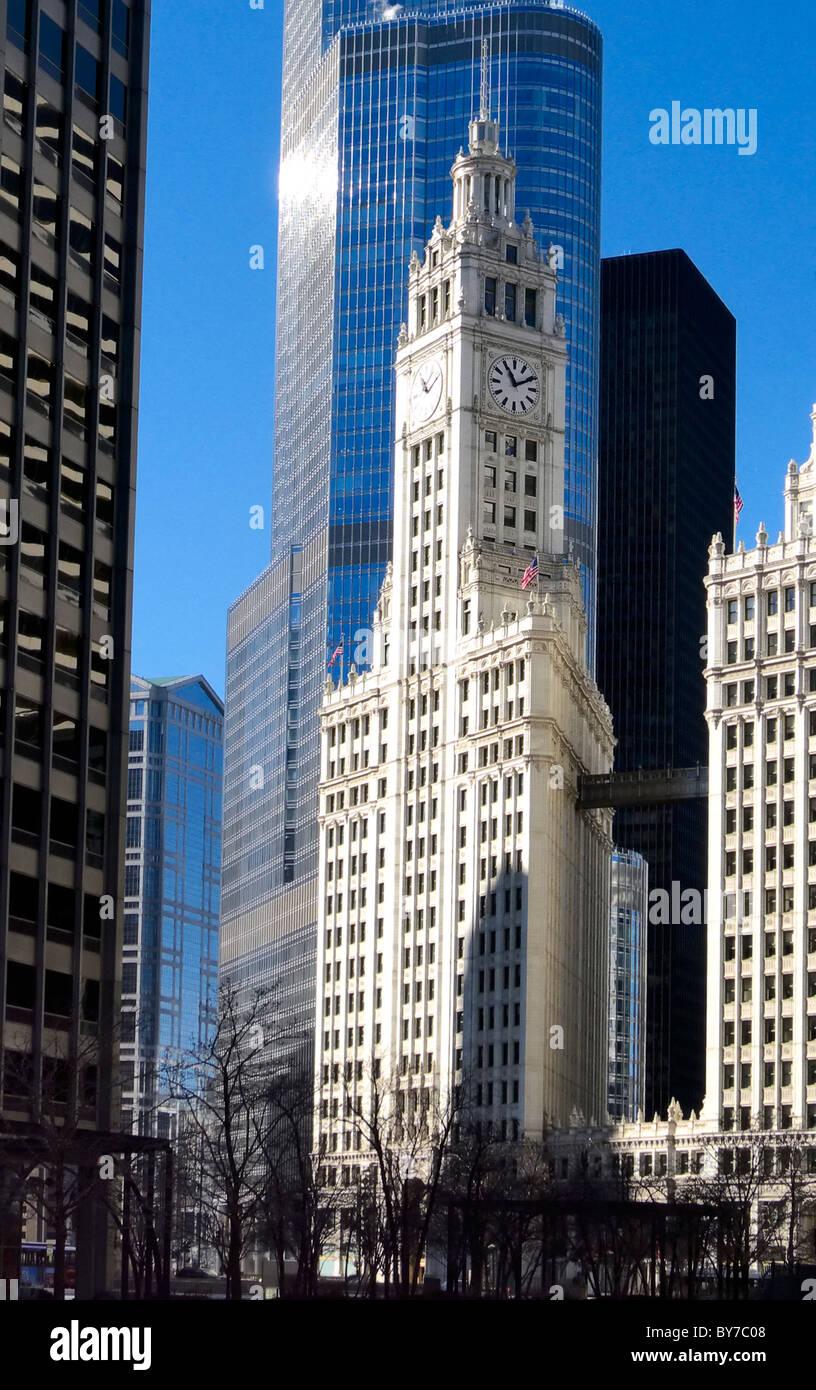 Wrigley Building, Chicago Illinois, USA - Stock Image