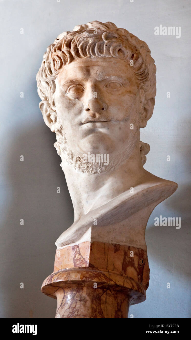 Statue Sculpture Bust of Roman Emperor Nero Capitoline Museum Rome Italy - Stock Image