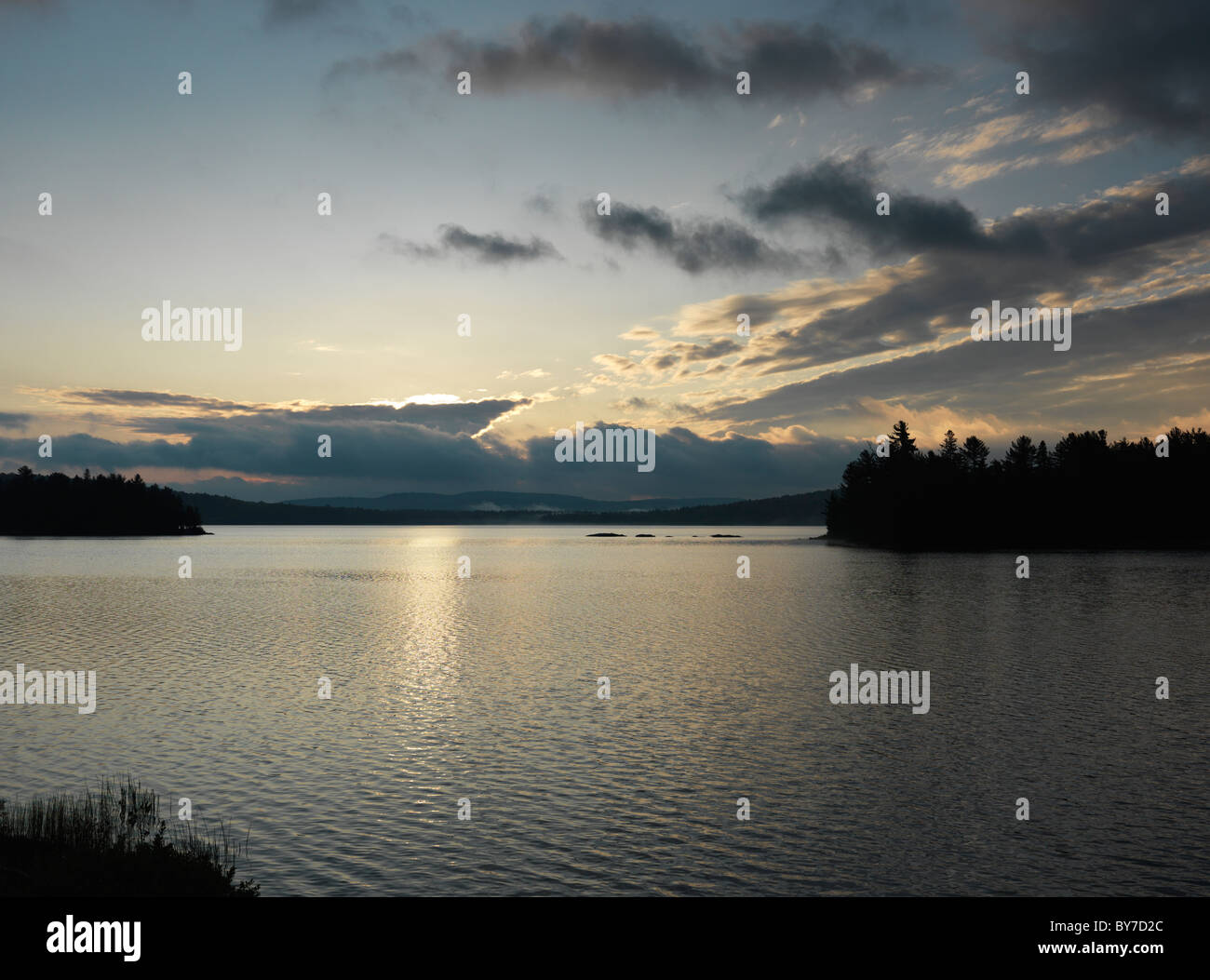 The Lake of Two Rivers at dawn fall nature scenery. Algonquin Provincial Park, Ontario, Canada. - Stock Image