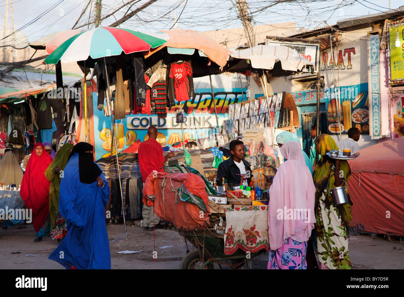 Main Hargeisa market during a busy period, Hargeysa, Somaliland, Somalia, Africa Stock Photo
