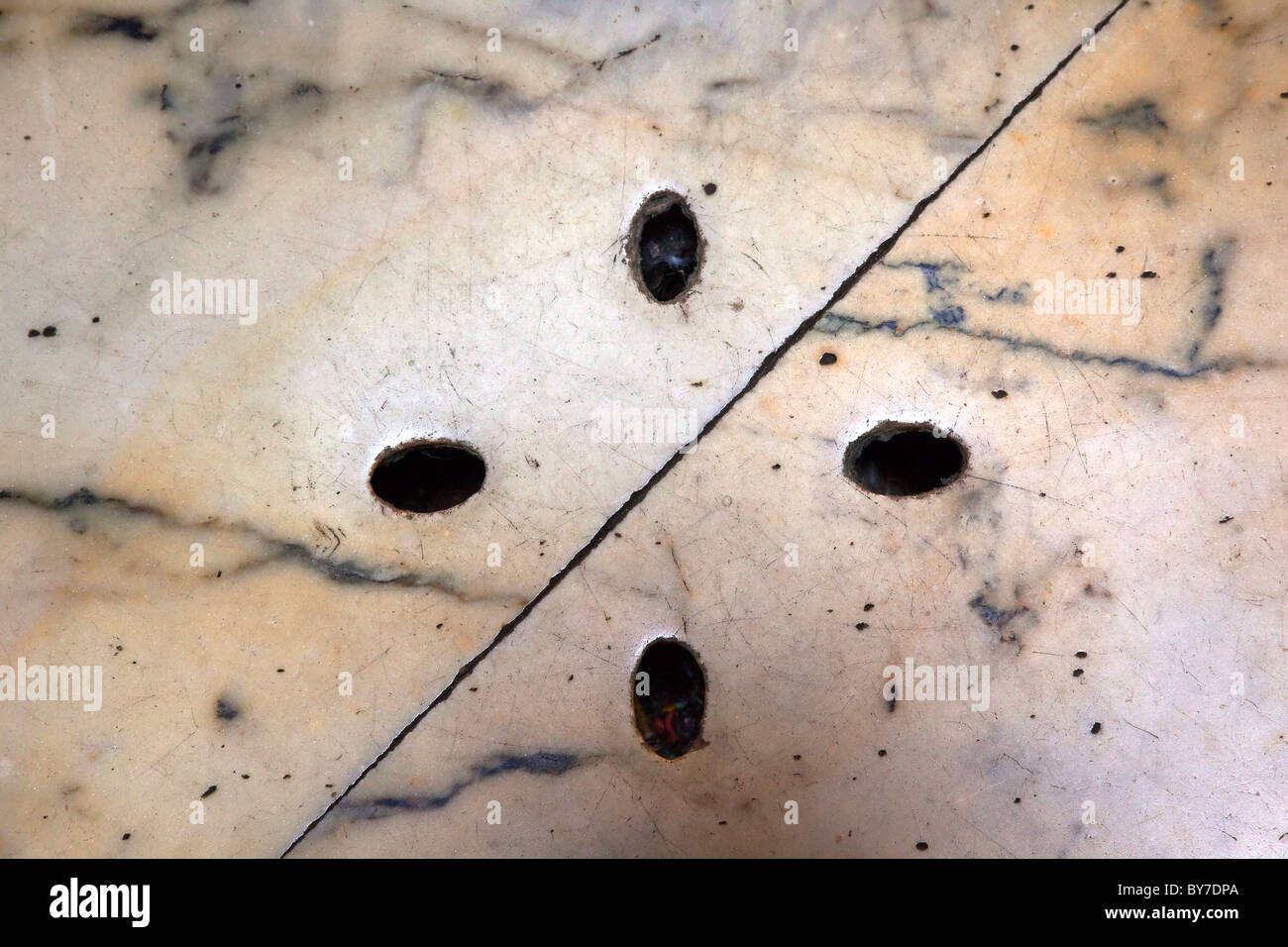 Pantheon Drains to drain water from Open Oculus Hole Rome Italy - Stock Image
