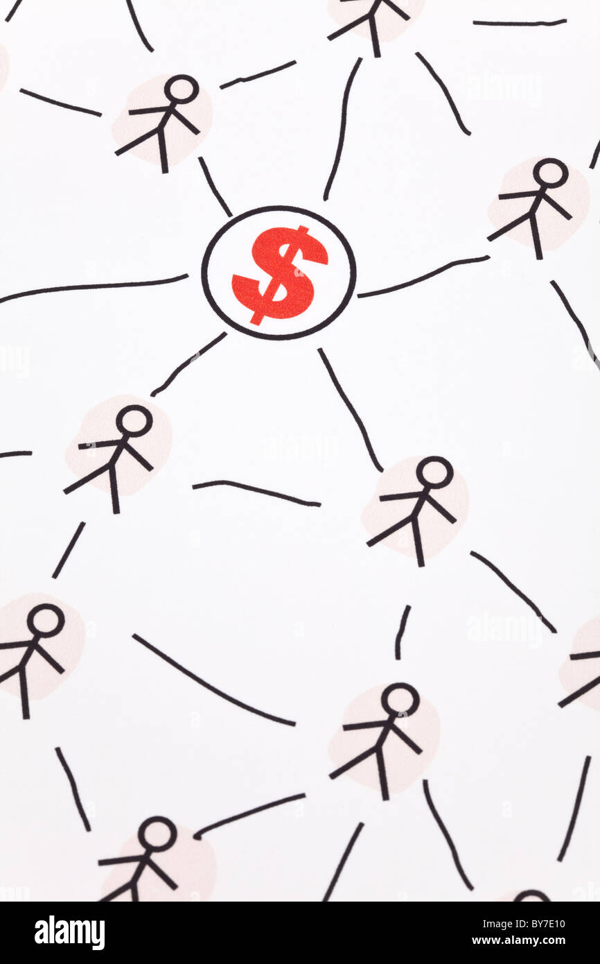 People Sketching Network and dollar sign, concept of business relation - Stock Image