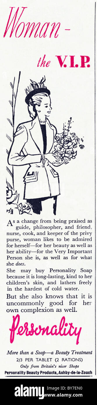 PERSONALITY soap beauty treatment advert in women's magazine 1940s advertisement - Stock Image