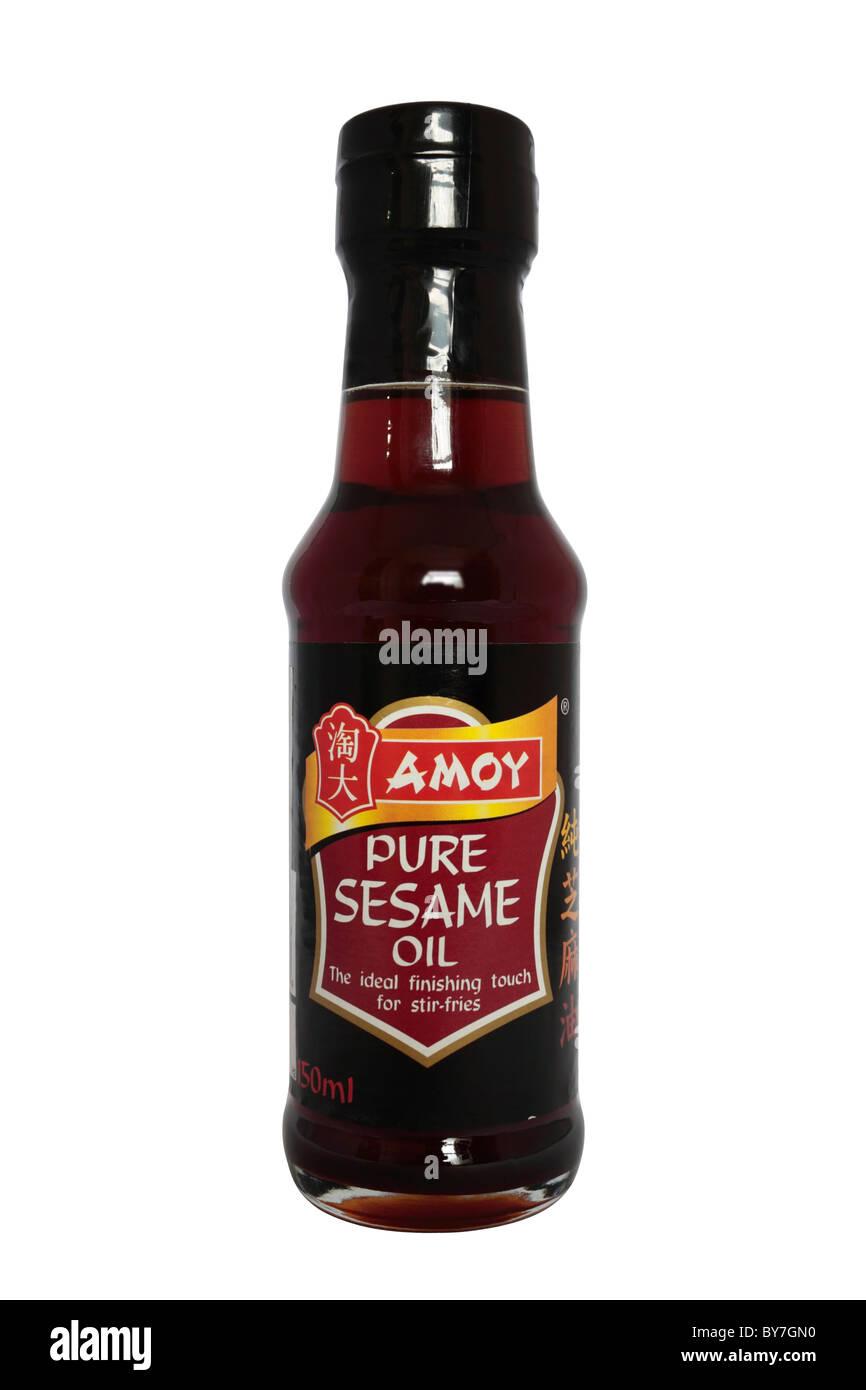 A Bottle of Sesame Oil on white background - Stock Image