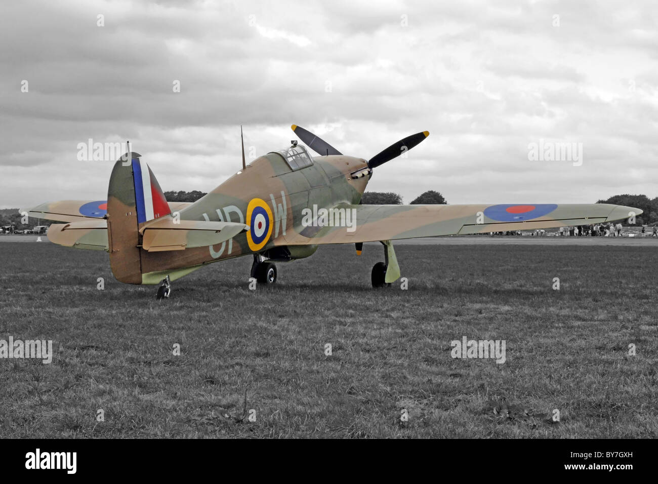 Retro Tinted black and white image of a WW2 RAF Hawker Hurricane Fighter Plane - Stock Image