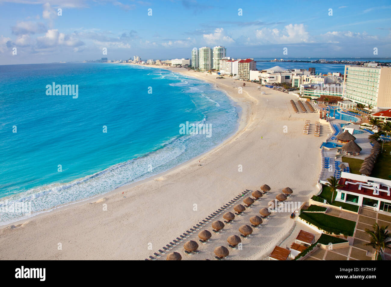 Beach in Cancun, Mexico - Stock Image