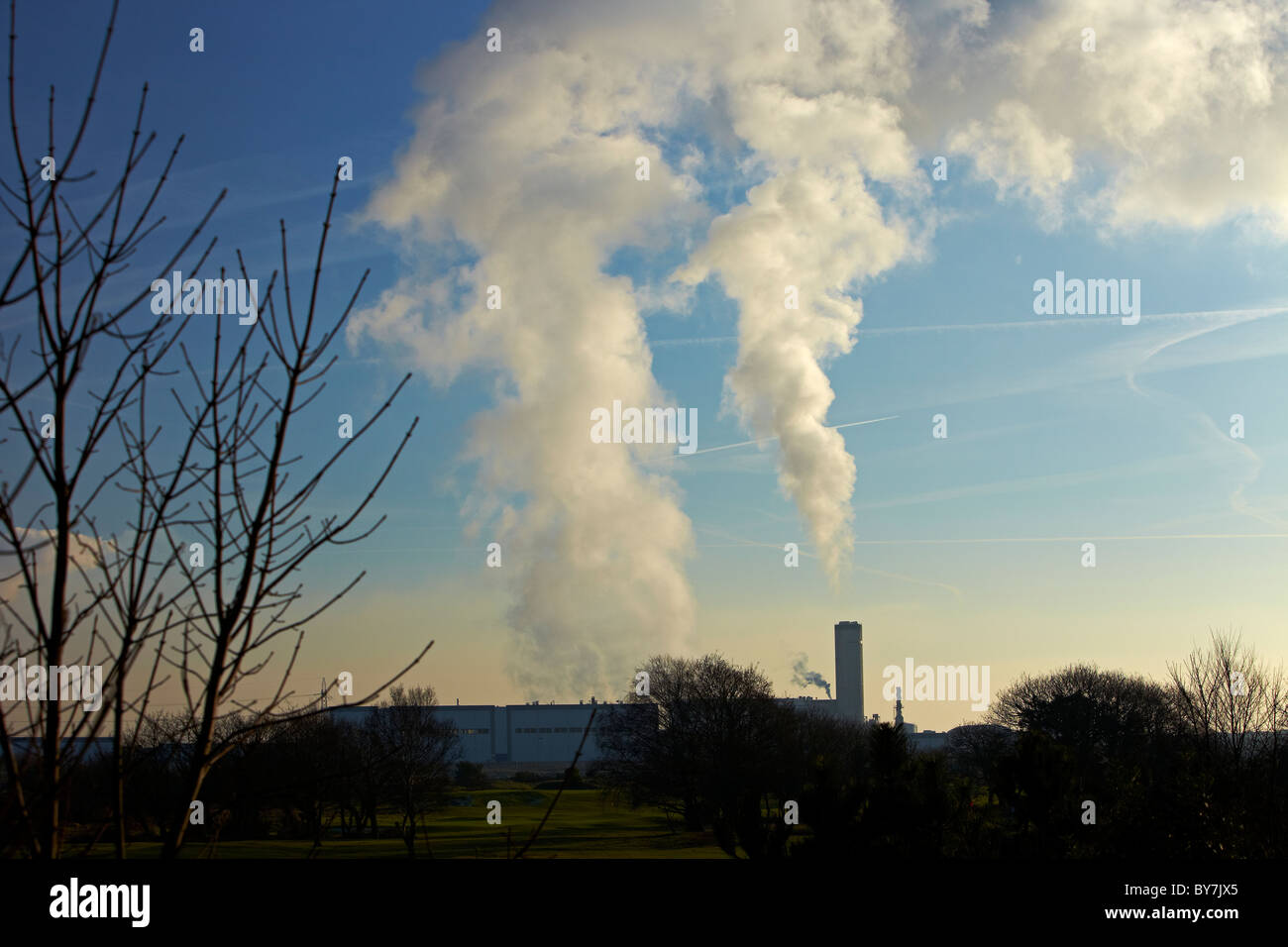 Pollution from BP Chemical Works, Port Talbot, South Wales, UK - Stock Image
