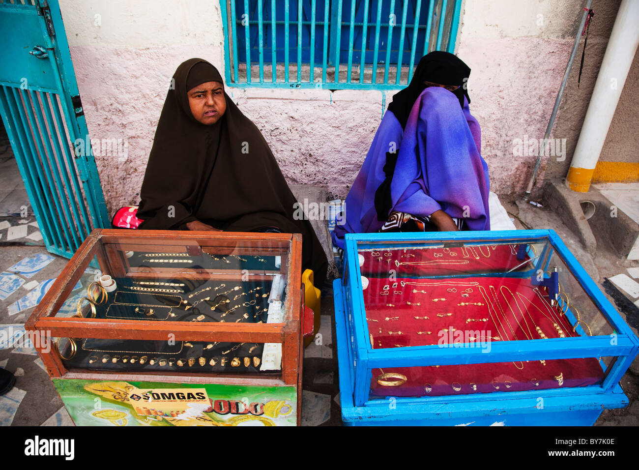 Women traders sell gold jewelery in Hargeysamarker, Somaliland, Somalia, Africa - Stock Image