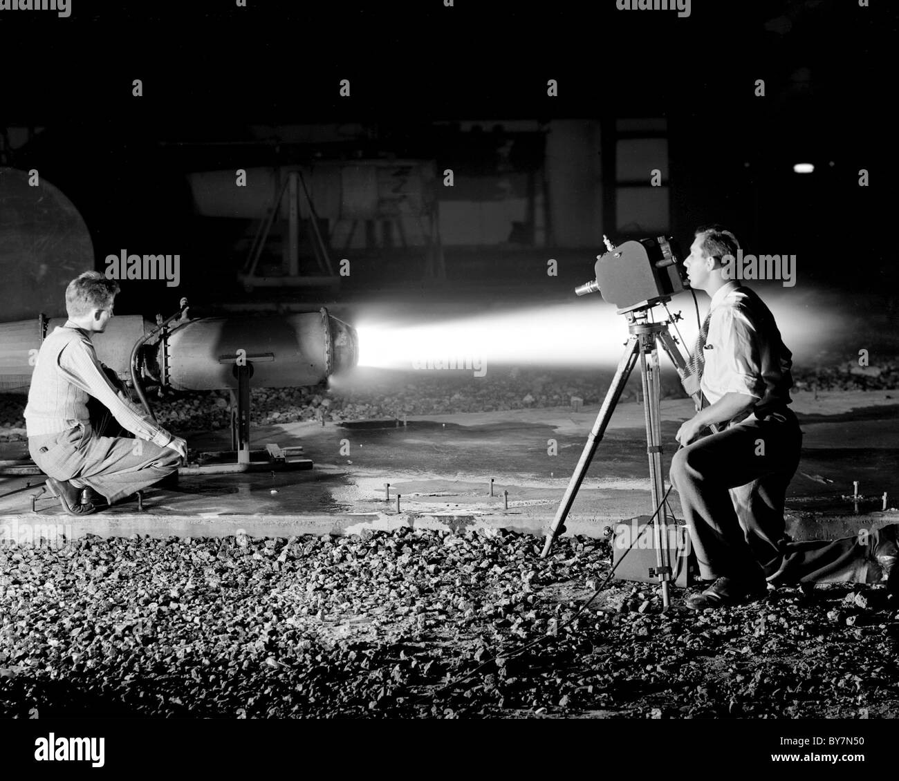 Ramjet I-40 engine in Jet Static Lab, making of high speed motion pictures of thrust augmentor flame. Lewis Research - Stock Image