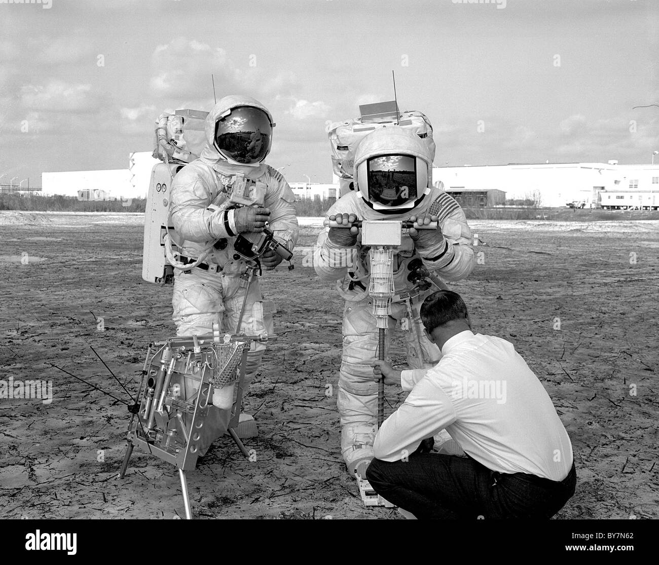 Apollo 13 EVA Walk-Through, training for extravehicular activity when on the moon - Stock Image
