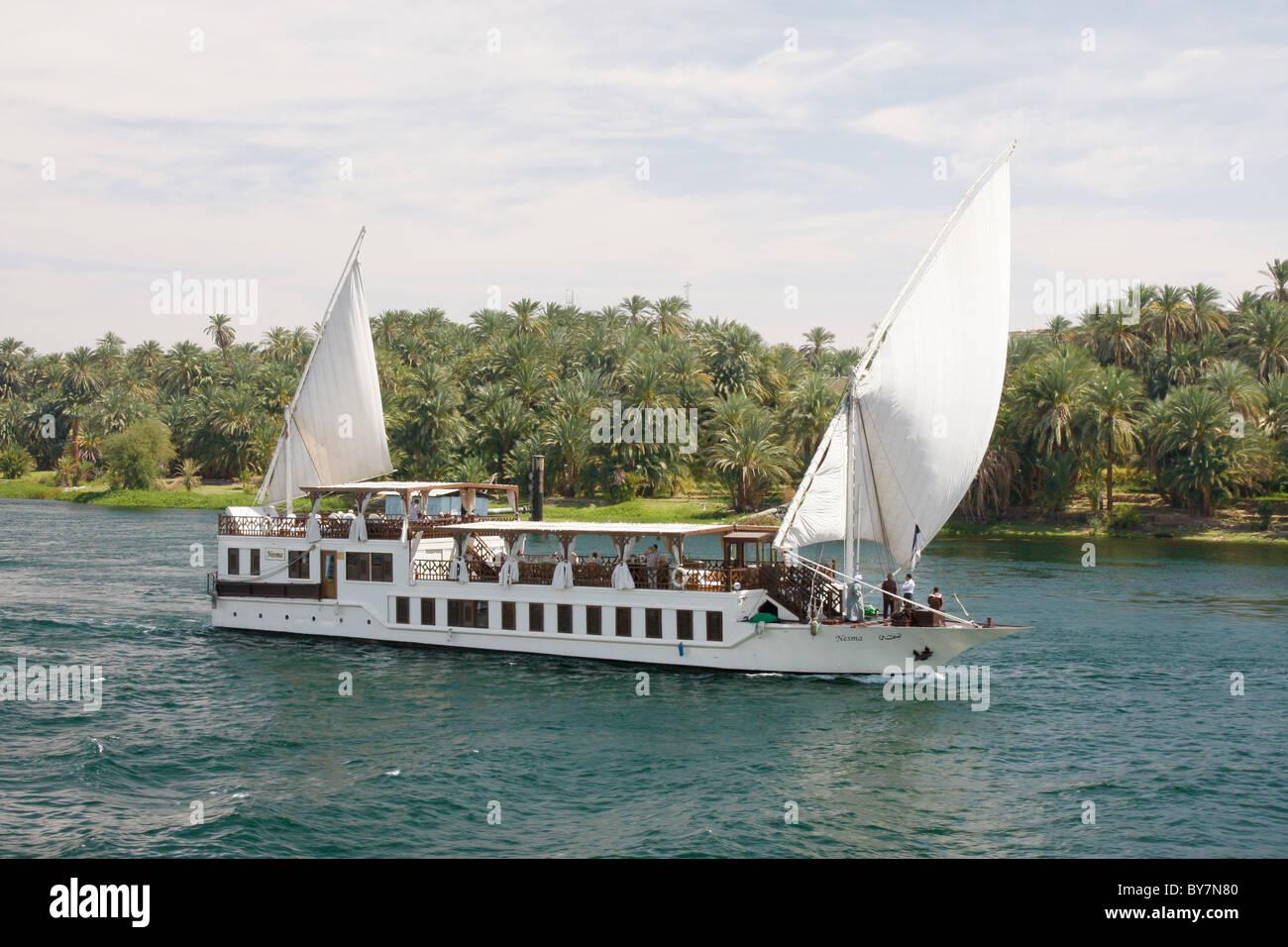 A tourist Dahabiya on the Nile, Egypt. Stock Photo