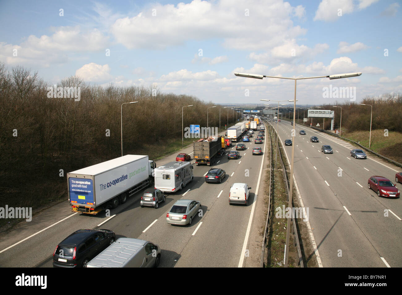 motorway congestion on the m1 junction 24 - Stock Image
