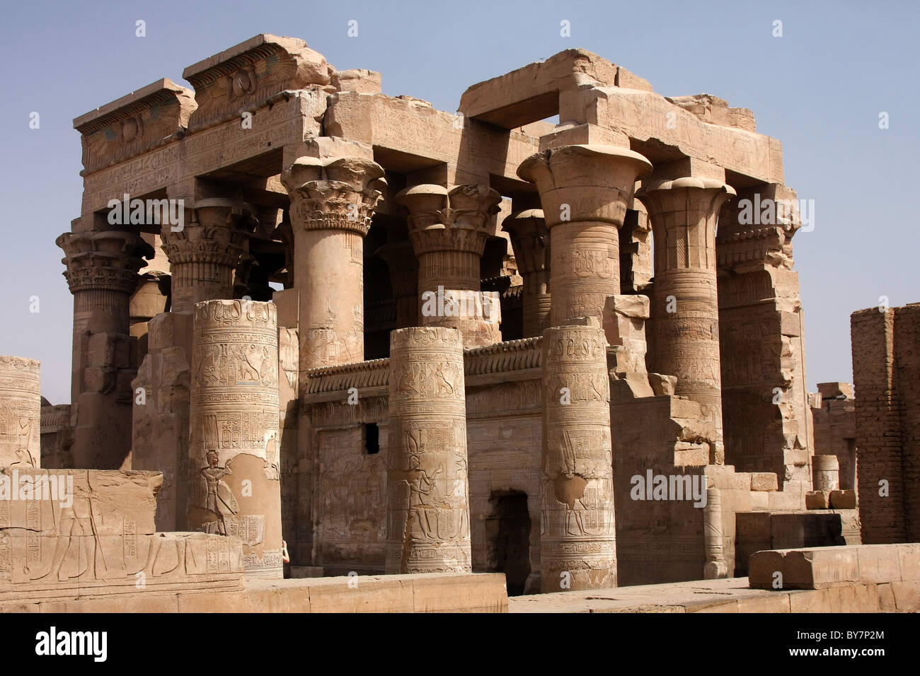 The temple at Kom Ombo, on the Nile, Egypt, dedicated to Sobek, the crocodile god. Stock Photo