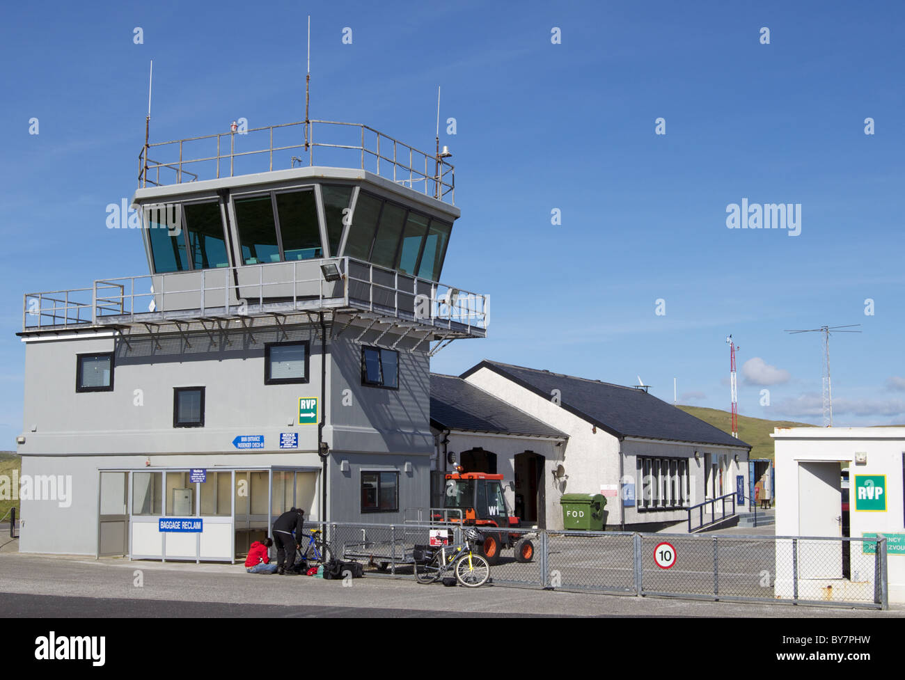 Barra Airport on Isle of Barra, Outer Hebrides, Scotland - Stock Image