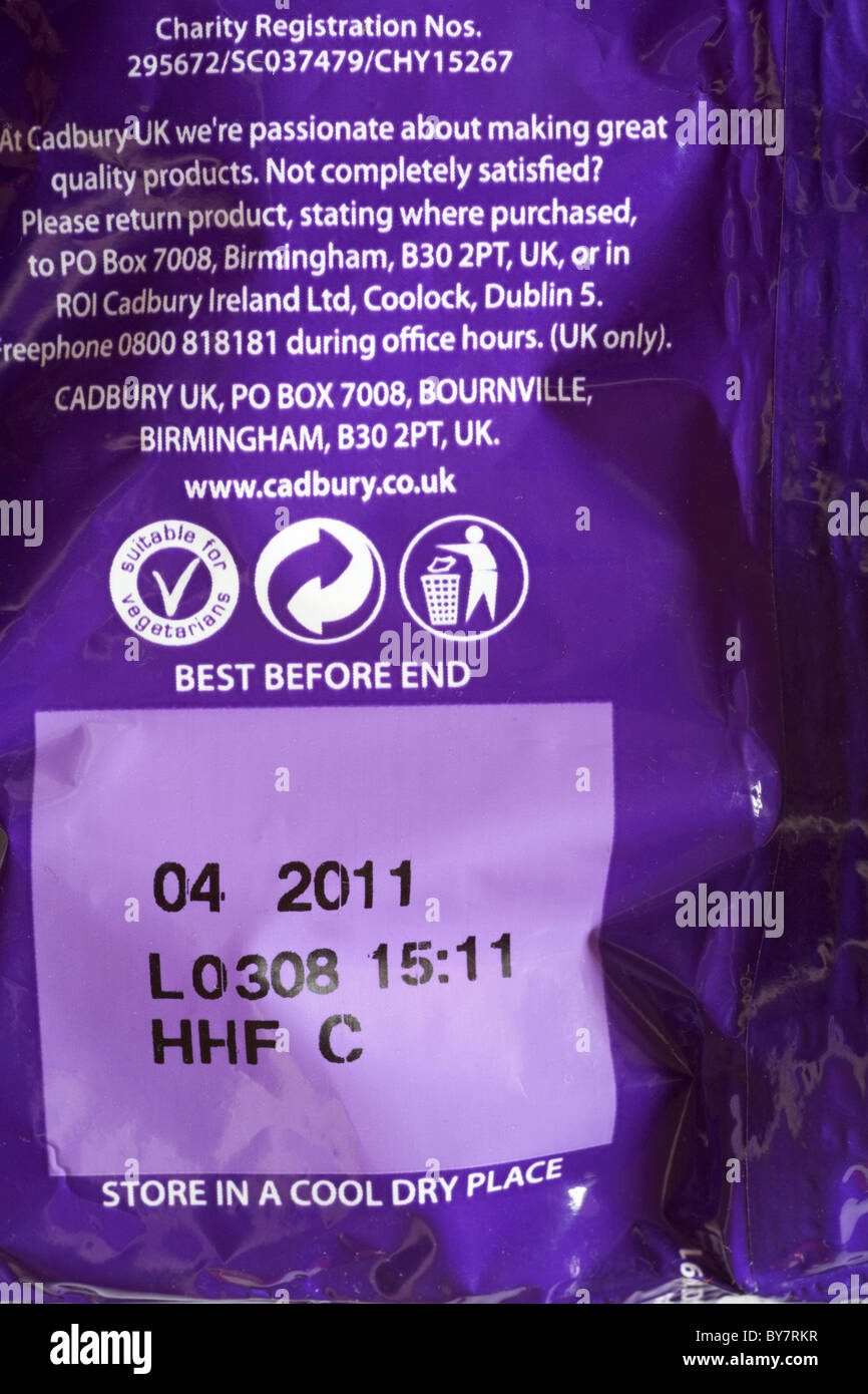 Best before end date 04 2011 on back of sweet packet - Stock Image