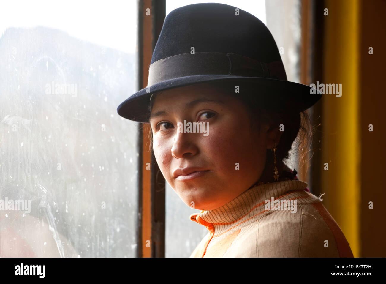 Indigenous woman, Quilotoa nr Latacunga, Ecuador - Stock Image