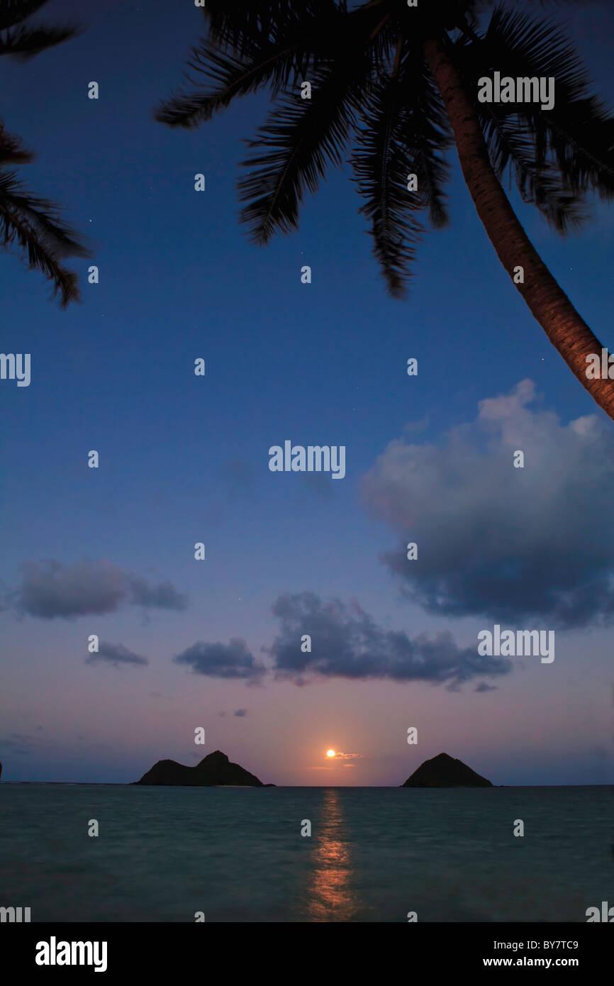 pacific moonrise between the mokulua islands in oahu, hawaii - Stock Image