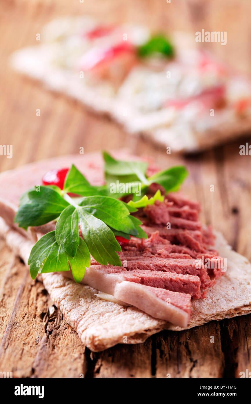Crispbread and pate - Stock Image