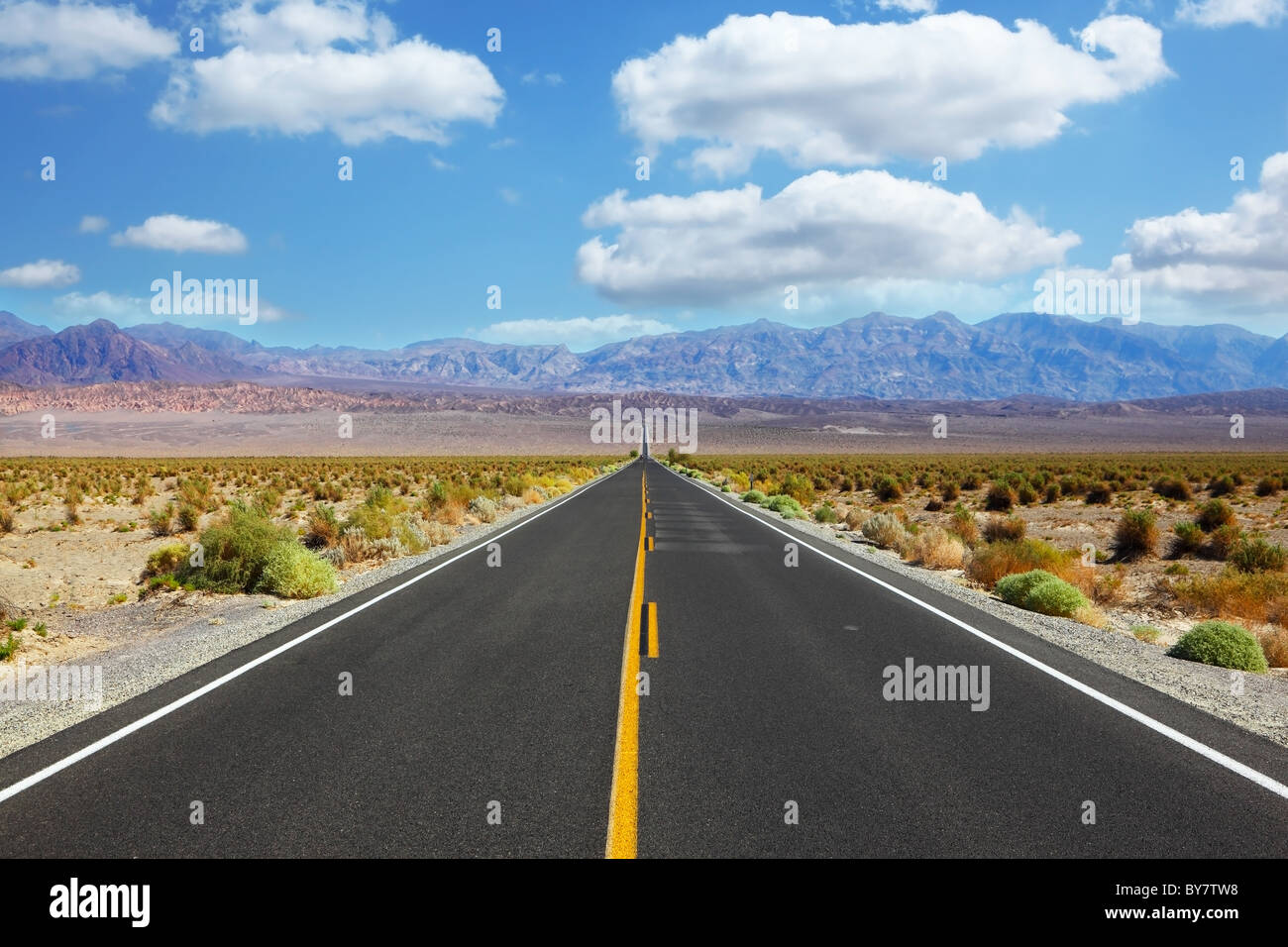 Great American road, crossing a huge Death Valley in California - Stock Image