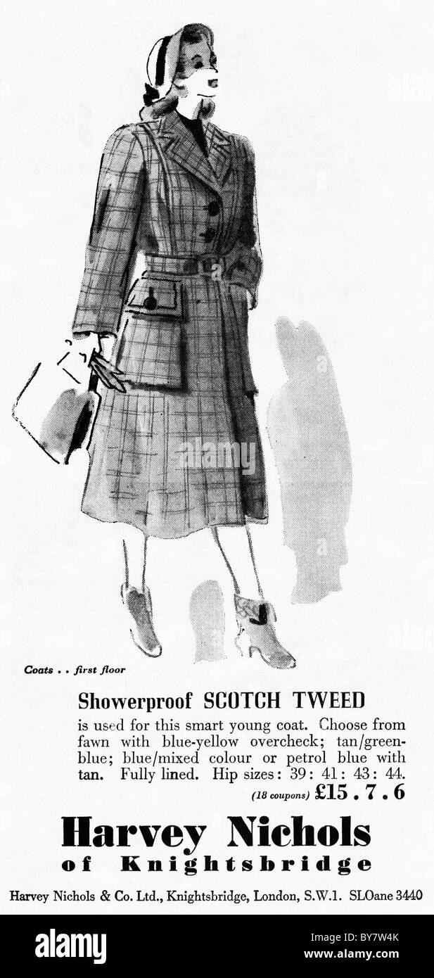 1940s fashion advertisement for HARVEY NICHOLS of KHIGHTSBRIDGE in women's magazine - Stock Image