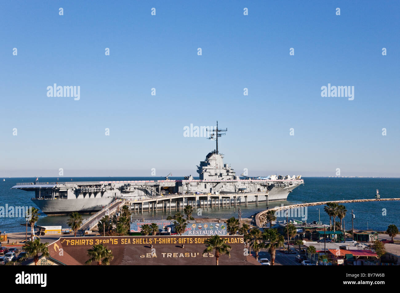 USS Lexington CV16, WW2 aircraft carrier - Stock Image