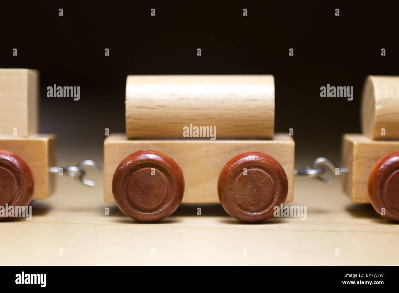 Miniature wood train waggons - Stock Image