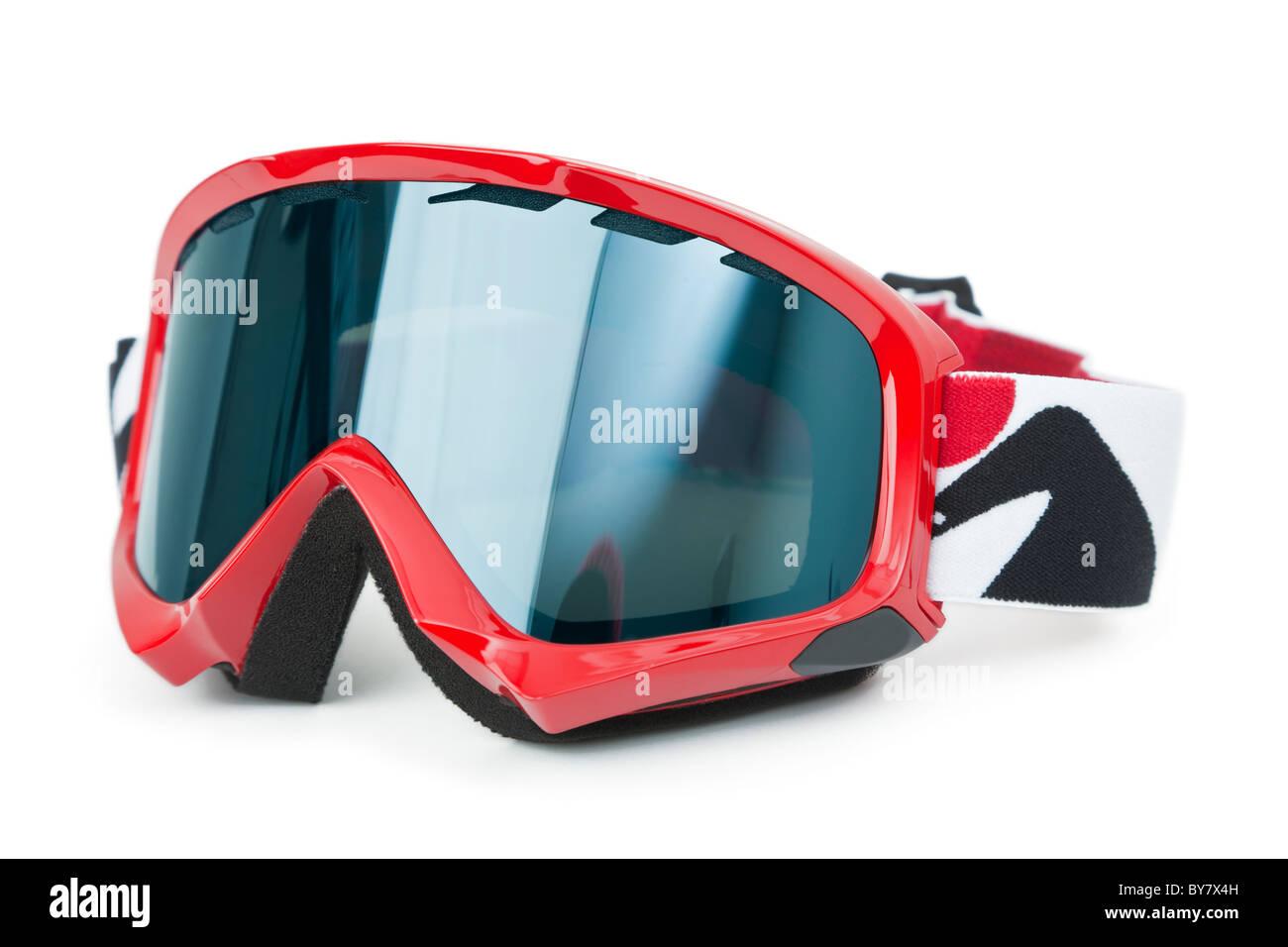 Brand new ski goggles isolated on white background - Stock Image