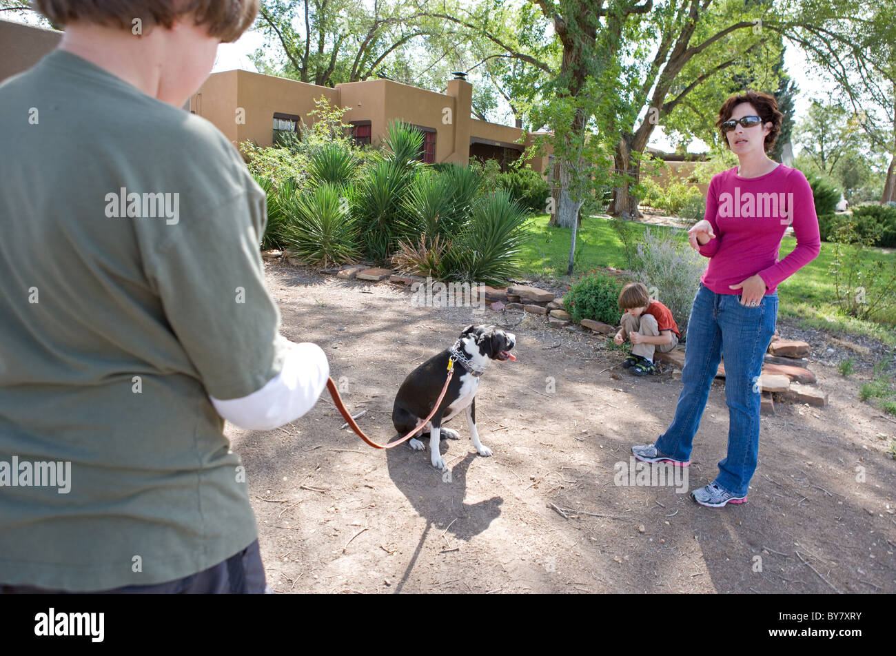 Dog trainer teaching twelve year old boy how to work with his dog on a leash. - Stock Image