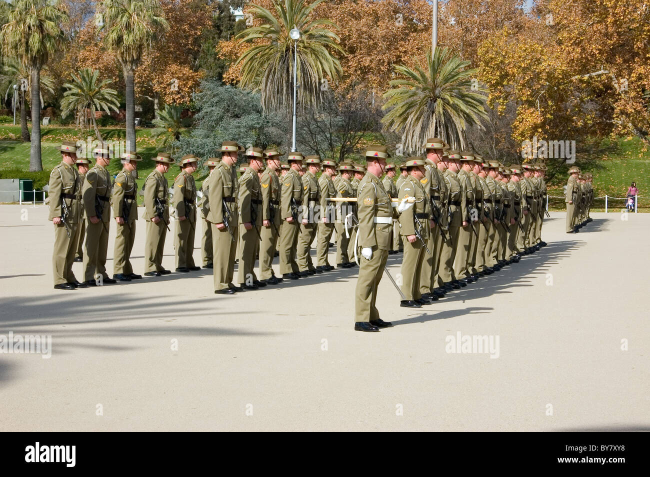 Australian Army personnel on parade, Torrens Parade Ground, Adelaide, South Australia. Stock Photo