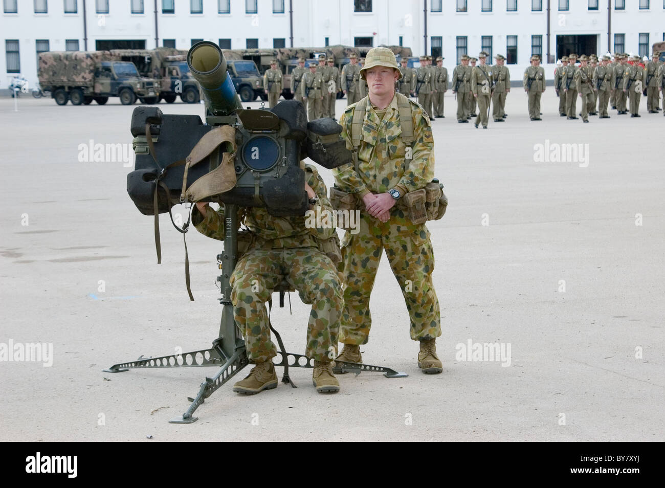 Australian Army personnel on parade and exercises, Torrens Parade Ground, Adelaide, South Australia Stock Photo