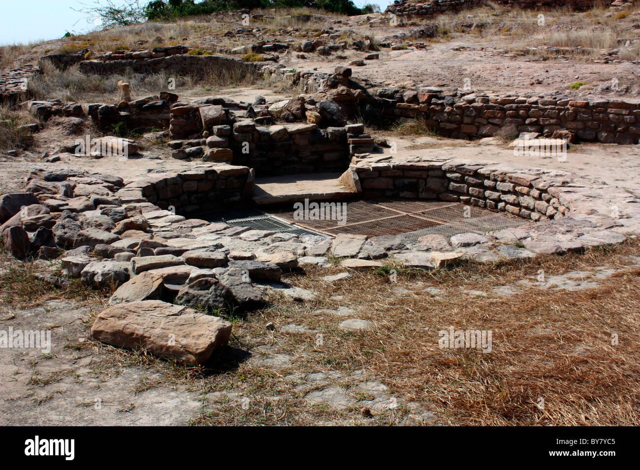 Excavated ruins of Harrappa civilisation at Dholavira, anicient site of Indus valley civilisation, Kutch,Gujarat, - Stock Image