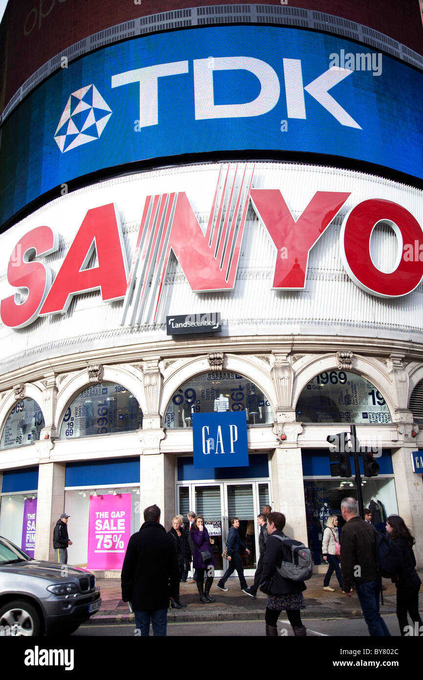 The famous Sanyo and TDK electronic signs on the corner at Piccadilly Circus. London. - Stock Image