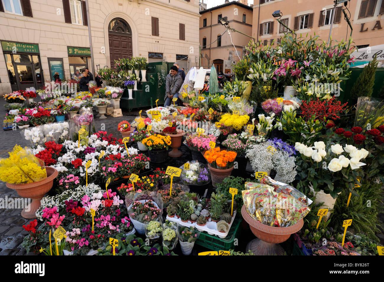 italy, rome, campo de' fiori, market stalls - Stock Image