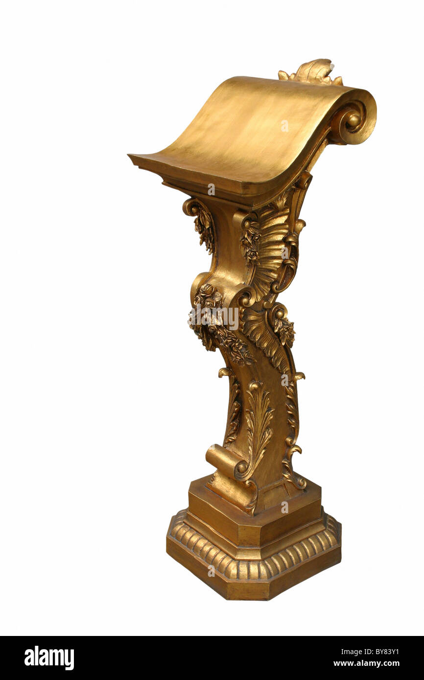 Decorated gilded pulpit, lectern. - Stock Image