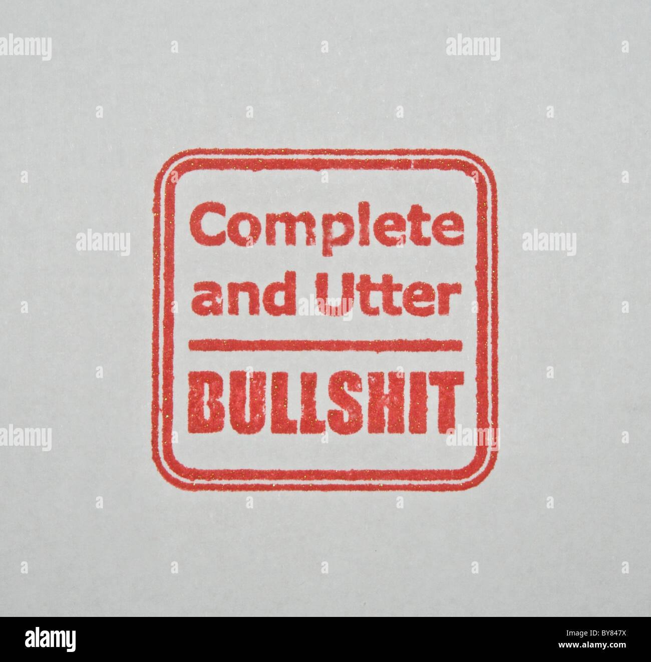 Rubber Stamp - Complete and Utter Bullshit Stock Photo