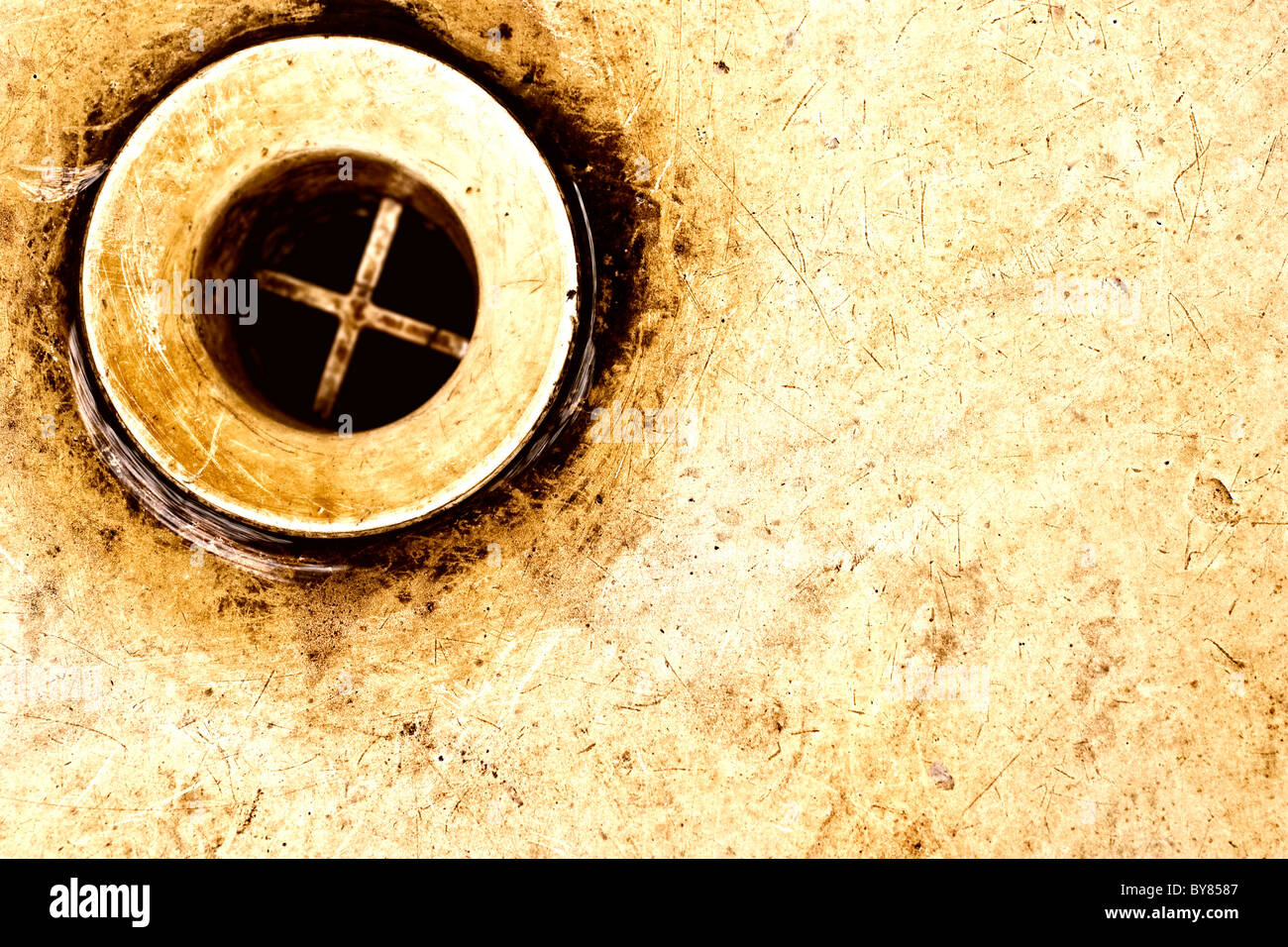 old rusty sink drain - Stock Image