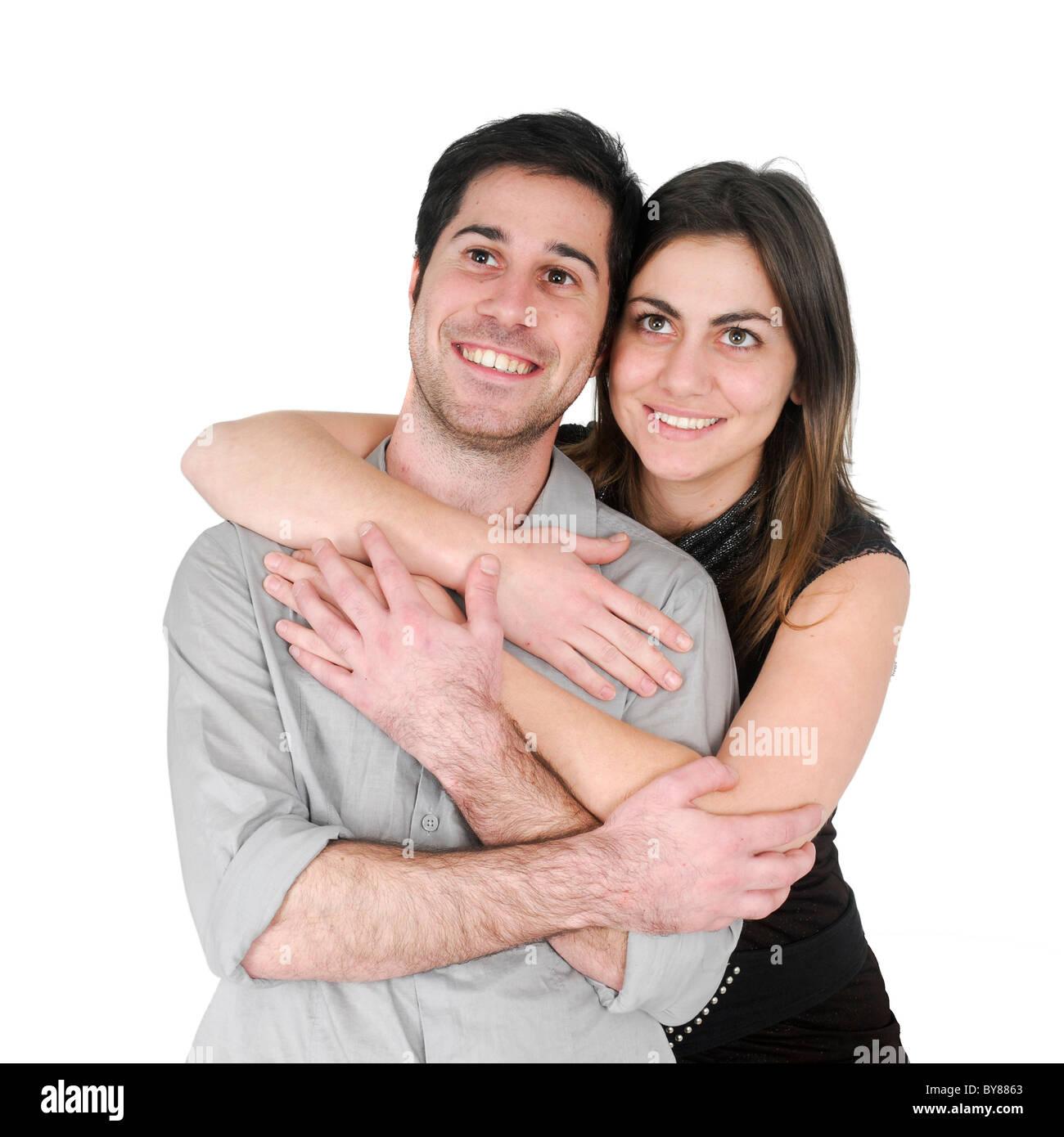 optimistic couple On white Background - Stock Image