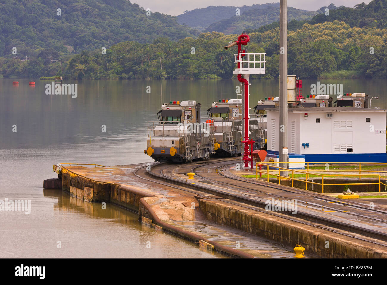 PANAMA - Electric locomotives also know as mules, Miraflores Locks on Panama Canal. - Stock Image