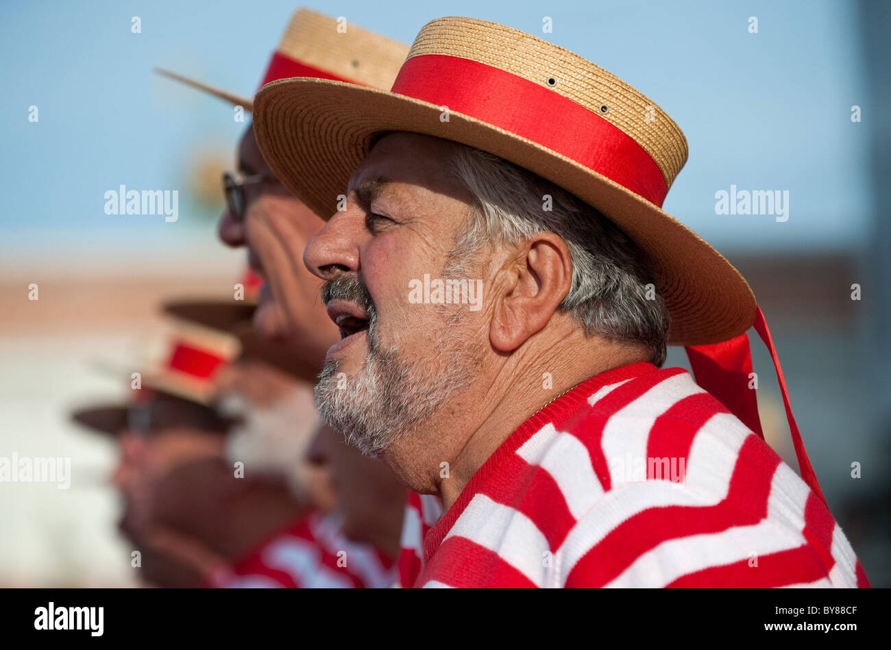 Singers of the Coro Serenissima wearing the traditional gondolier dress - Stock Image