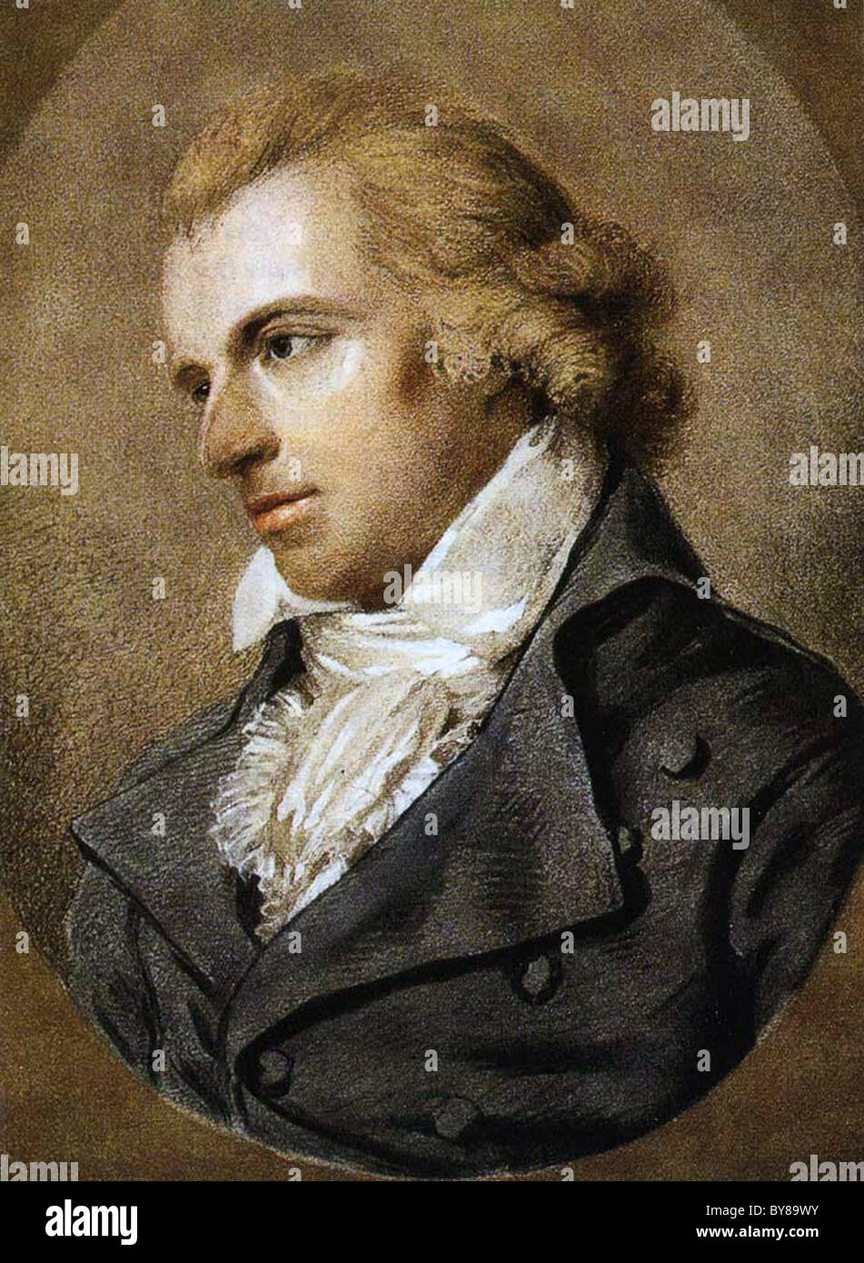 FRIEDRICH SCHILLER (1759-1805) German poet and historian chalk wash drawing by Ludovika Simanowiz about 1793 - Stock Image
