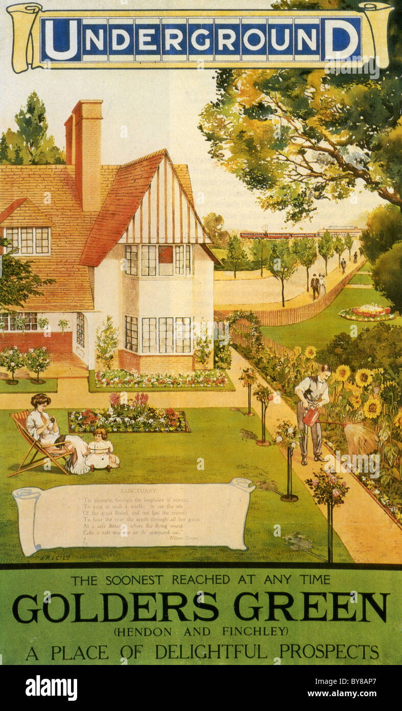 LONDON UNDERGROUND poster about 1910 showing an idealised Edwardian family in their new home in Golders Green Stock Photo