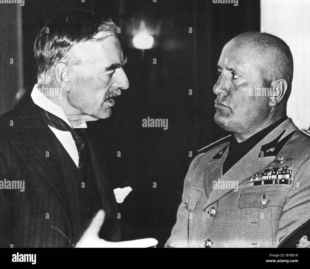 Neville Chamberlain British Prime Minister At Left And Mussolini