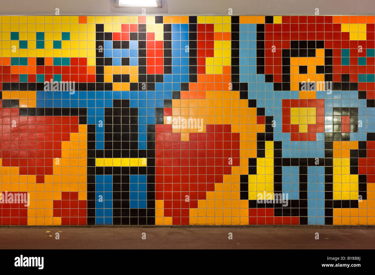 A Batman & Robin mural mosaic inside so-called Pixel Poort Bicycle Tunnel connecting Amsterdam and Zaandam The - Stock Image