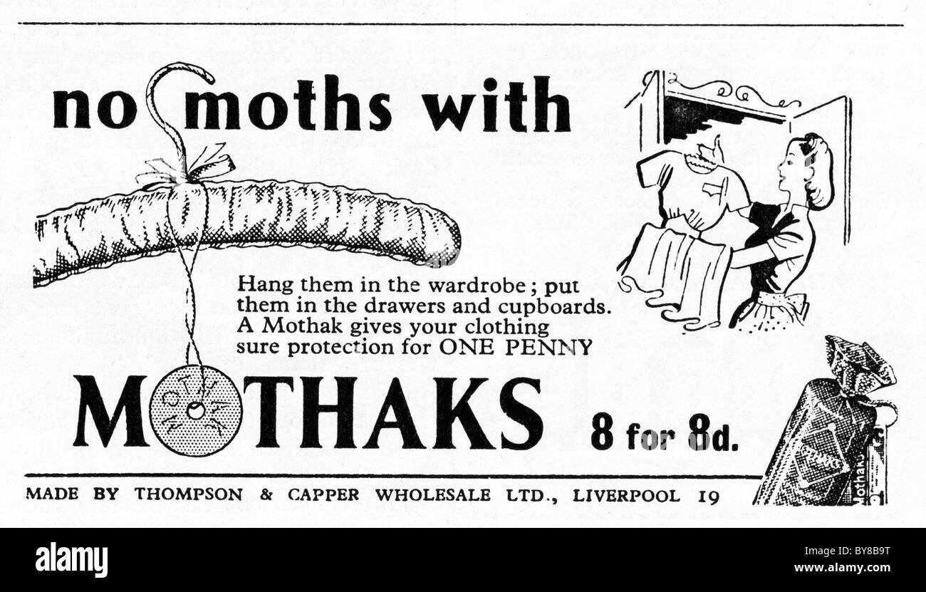 1940s advertisement for MOTHAKS moth protection for wardrobes in women's home economics magazine - Stock Image