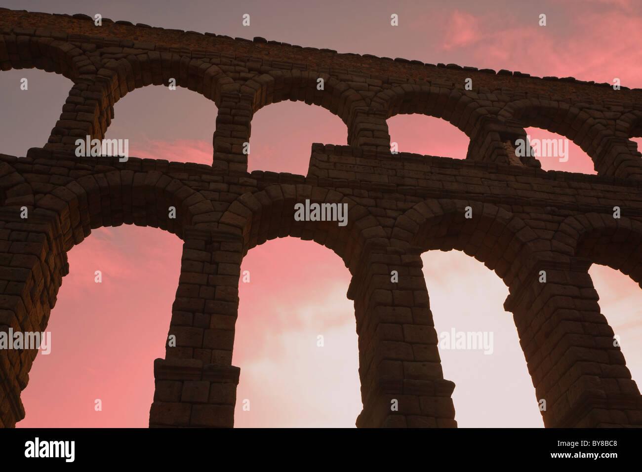 Segovia, Segovia Province, Spain. The Roman aqueduct. UNESCO World Heritage Site. - Stock Image