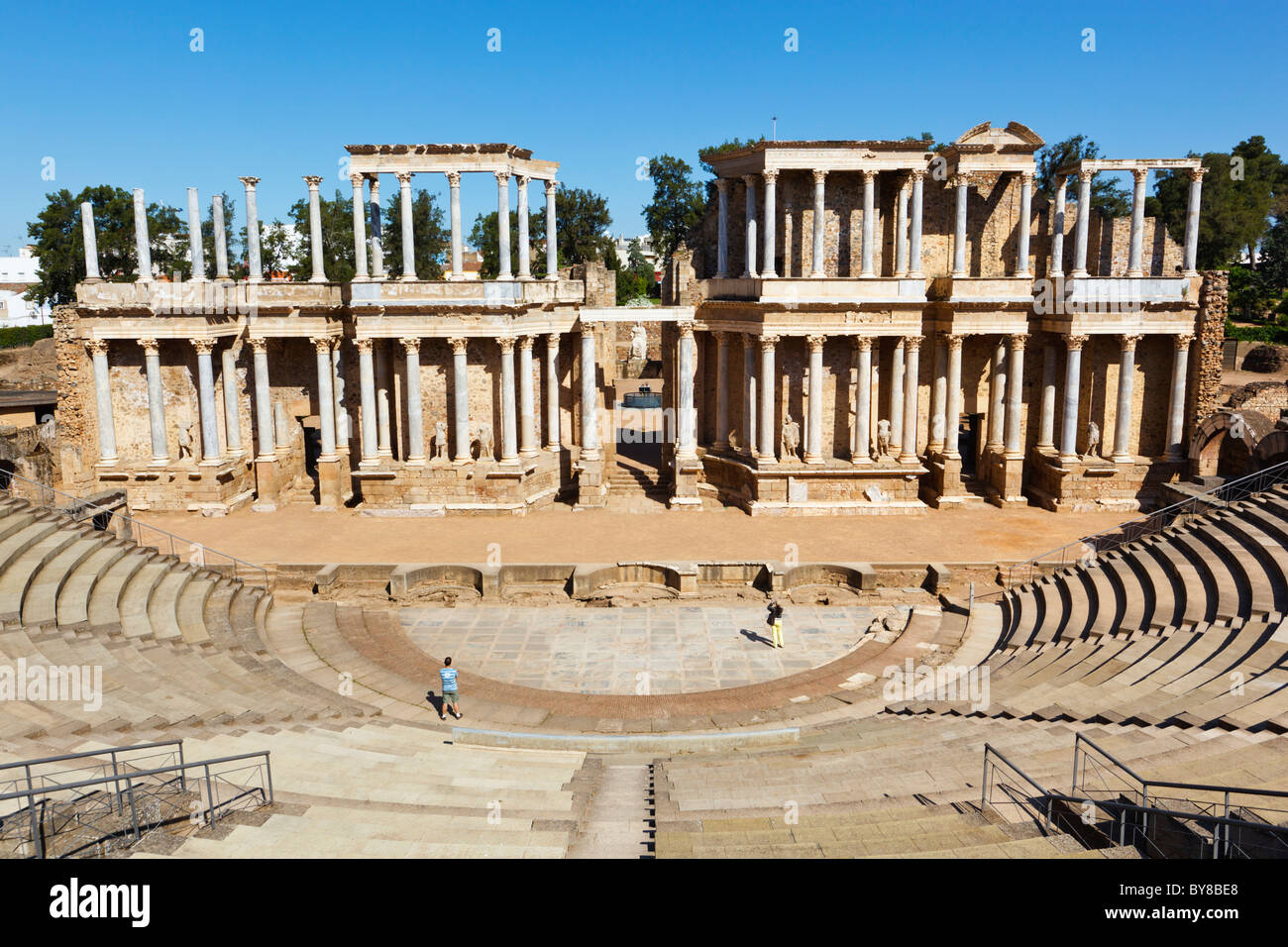 Merida, Badajoz Province, Spain. The Roman theatre built in the first century BC. - Stock Image