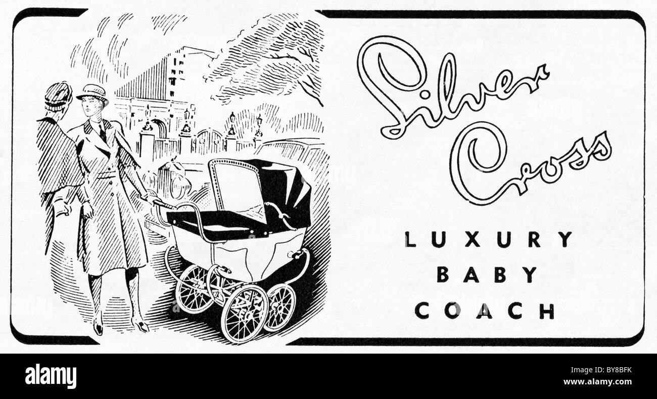 SILVER CROSS luxury baby pram advert in women's magazine 1940s advertisement - Stock Image