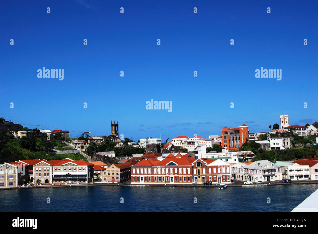 View of the town and coastline, St. George's, Grenada, Caribbean. Stock Photo
