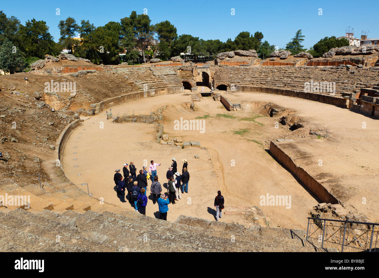 Merida, Badajoz Province, Spain. The first century BC Roman amphitheatre. Stock Photo